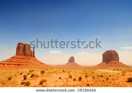 Monument Valley, famous movie landscape on sunny day