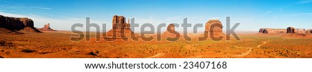 Monument Valley in Utah, Panoramic composition.