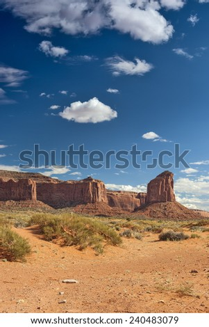 Monument Valley in Utah, United States of America. Vertical Image. HDR Toning