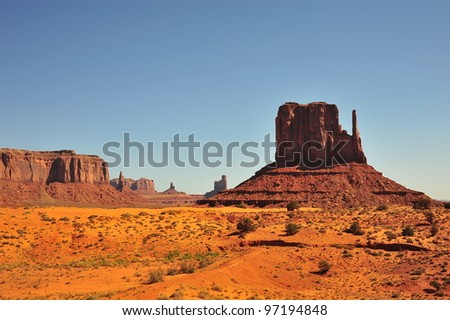 Monument Valley is a region of the Colorado Plateau characterized by a cluster of vast sandstone buttes