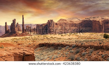 monument valley landscape in the sunset light #423638380