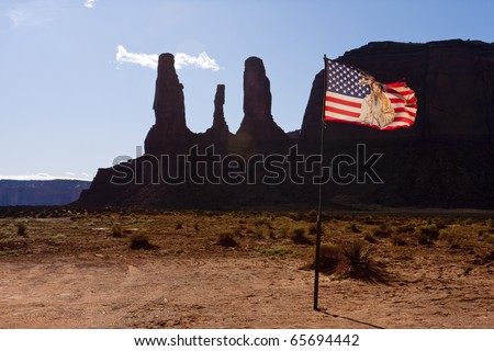 Monument Valley lies entirely within the Navajo Indian Reservation on the Utah/Arizona border near the southeastern corner of Utah. - stock photo