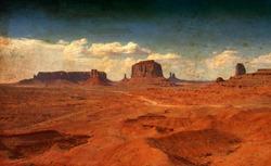 Monument Valley mountains Arizona Utah USA vintage image like an old painting