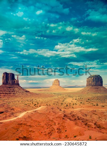 Monument Valley national park with retro processing, desert background