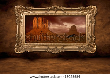 Monument Valley Photo Hanging on a Distressed Grungy Wall in Vintage Frame