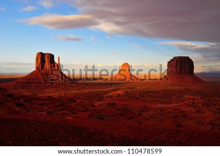 Monument Valley. Sandstone formation in Monument Valley during sunset as storm clouds are rolling in.