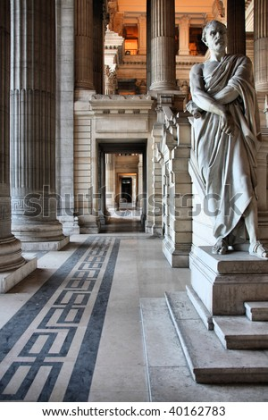 Monumental architecture landmark in Brussels, Belgium. Justice Palace (Palais de Justice). Eclectic and neoclassical style building serves as headquarters of several important law courts.