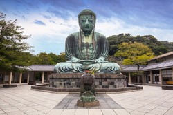 Monumental bronze statue of the Great Buddha in Kamakura, Japan.