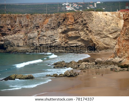 Monumental cliff coast near Cape St  Vincent, Portugal