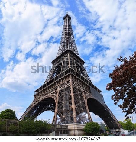 Monumental Eiffel Tower in Paris, France.