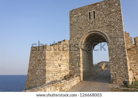 Monumental entrance of medieval fortress of Kaliakra. Bulgaria. Cape of Kaliakra is a long and narrow headland in the Southern Dobruja region of the northern Bulgarian Black Sea Coast