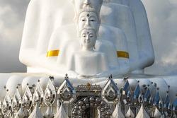 Monumental trippy white buddha statue