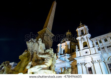 Monuments and places to visit in Rome: Piazza Navona by night #478496605