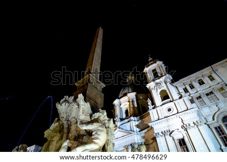 Monuments and places to visit in Rome: Piazza Navona by night #478496629