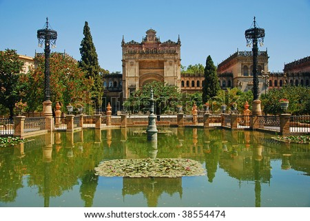 Monuments of Seville in Park Maria Luisa (Botanic garden) - Plaza de America, Seville, Andalusia, spain.