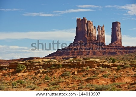 Monuments Valley Scenery. Arizona Monuments Valley Tribal Park in Navajo Nation Reservation. Scenic Arizona Photo Collection.