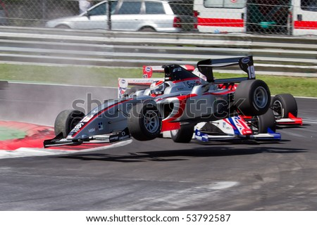 MONZA, ITALY - MAY 22: Nicola De Marco accident during first lap of Race 1 at FIA Formula 2 Championship 2010 in Monza. May 22, 2010 in Monza, Italy - stock photo