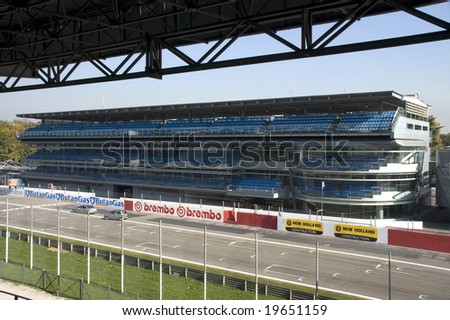 MONZA, ITALY - OCTOBER 27: Start grid and grandstand at Monza Formula One race track. Home of the Italian F1 Grand Prix October 27, 2008 in Monza, Italy
