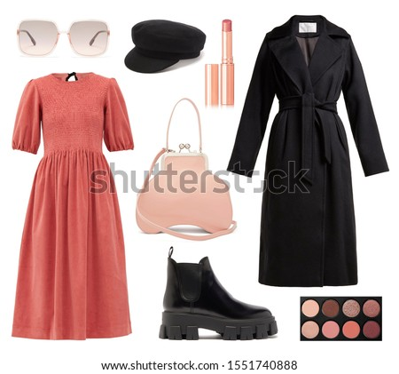 mood board fashion clothes, outfit, clothes collage, set of fashionable clothes and accesories, woman trendy fashion clothes collage on white, flat lay, top view