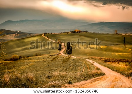 Mood fall photo of Tuscany landscape and free space for your decoration.  #1524358748
