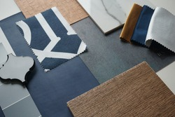 Moodboard. Material samples. Blue, gray, white, black, gold, warm wood.