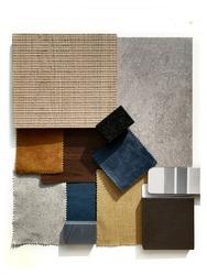 Moodboard. Material samples. Blue, orange, grey, light wood.