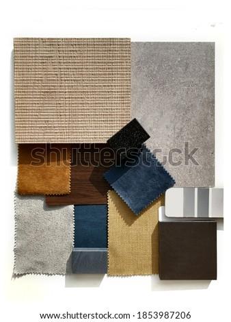 Moodboard. Material samples. Blue, orange, grey, light wood. Foto stock ©