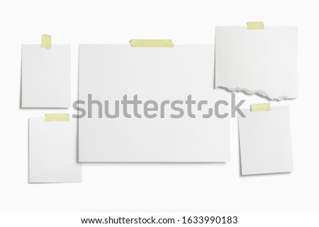 Moodboard template composition with blank photo cards, torn paper, polaroid frame glued with yellow adhesive tape and isolated on white for easy editing.
