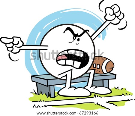 Moodie Character Sitting By A Football On A Bench shouting and complaining