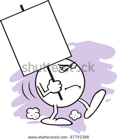 Moodie Character With An Angry Expression Carrying A Blank Sign