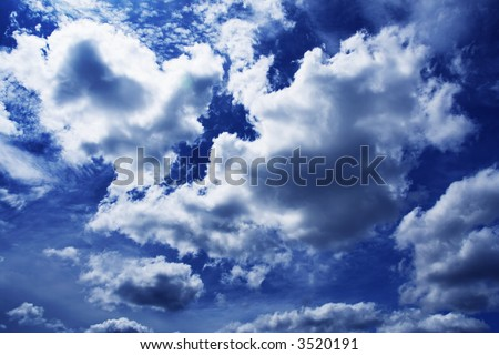 Moody blue sky - stock photo