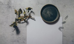 Moody dark feminine mock-up flat lay photo of autumn stationery with white blank paper and dry authentic fall tree branches and paper clips. Online blog web banner. Styled stock photo, web banner.