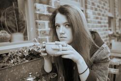 moody emo girl next door looking at camera