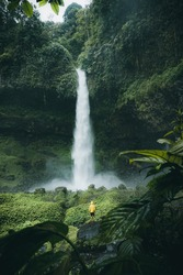 Moody Green at Ciparay Waterfall in Tasikmalaya City, Indonesia. Best location for holiday.
