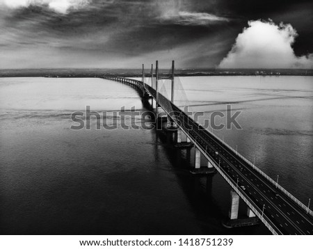 Moody Severn bridge shot with drone #1418751239
