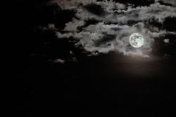 Moon and clouds night background, Halloween night.
