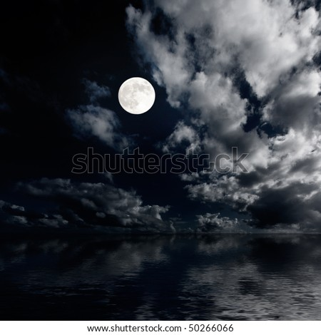 Moon and clouds sky above sea at night image