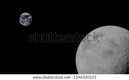 moon and earth in orbit around each other, a composite image  (some elements courtesy of nasa)