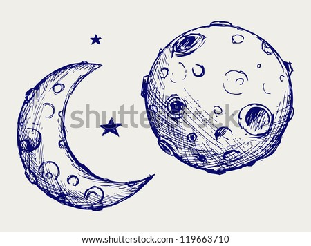 Moon and lunar craters. Doodle style. Raster version