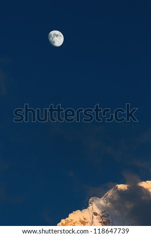 Moon and Nuptse at sunset (view from Kala Patthar) - Everest region, Nepal