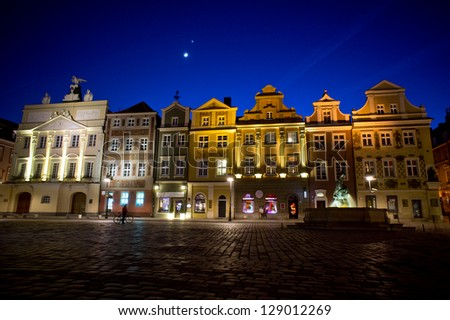 Moon and old Market in Poznan, Poland