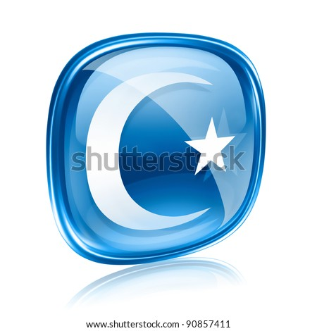 moon and star icon blue glass, isolated on white background.