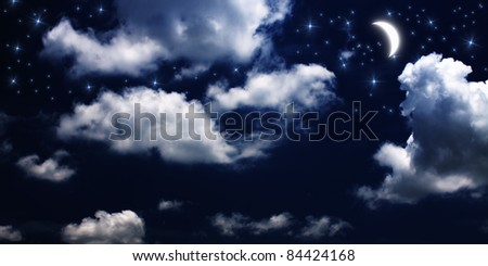 Moon and stars at night