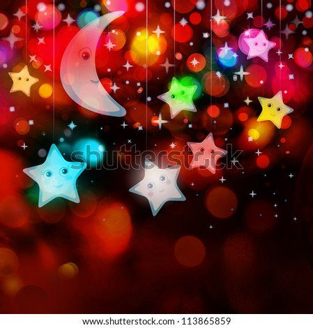 Moon and stars on colorful lights background