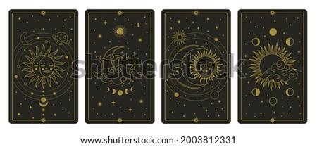Moon and sun tarot cards. Mystical hand drawn celestial bodies cards, magic tarot card  illustration set. Magical esoteric tarot cards. Magic spiritual card, astronomy tarot card, sketch vintage