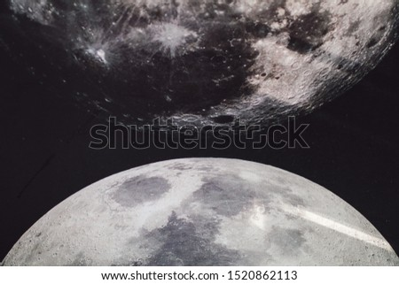 Moon background / The Moon is an astronomical body that orbits planet Earth Half moon - shallow depth of field