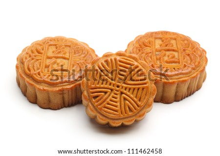 moon cakes on white background