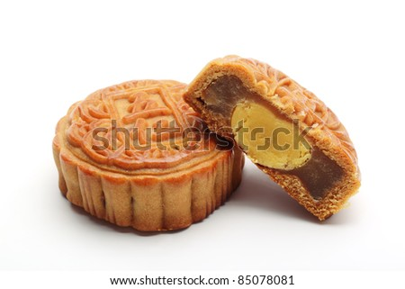 moon cakes on white background.
