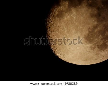 Moon close-up take through telescope - stock photo