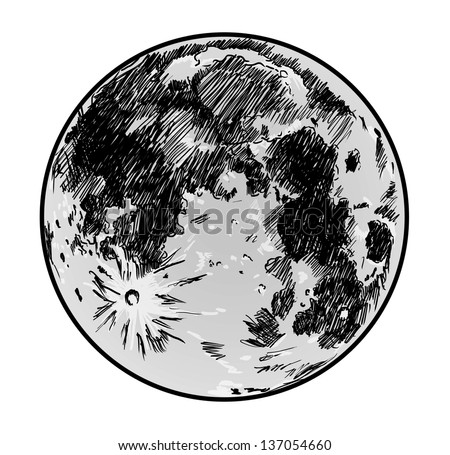 moon drawing on white background stock photo 137054660
